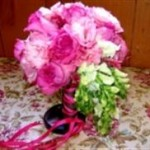 Tropical mix with pink peonies